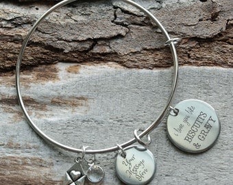 Love You Like Biscuits and Gravy Personalized Adjustable Wire Bangle Bracelet