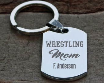Wrestling Mom Personalized Engraved Key Chain