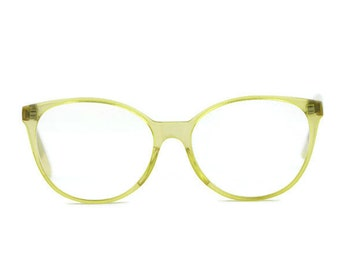 yellow cream round eyeglasses frames glasses transparent vintage vtg clear clear hipster nerd retro 80s eyewear