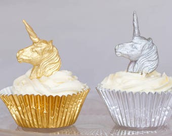 12 x Sugar unicorn head cake toppers / cake stakes - gold or silver fondant