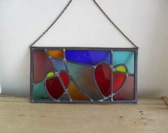 Stained Glass Panel Suncatcher Glass HEART Handmade Glass Panel Red Green Blue ABSTRACT Stained Glass GIFT Glass Wall Decor Hanging Panel