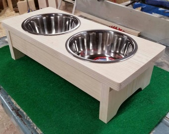 Unfinished Raised Pet Bowl Feeder for dogs or cats
