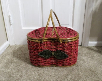 Vintage Pink, Strawberry-shaped, Wicker, Picnic Basket