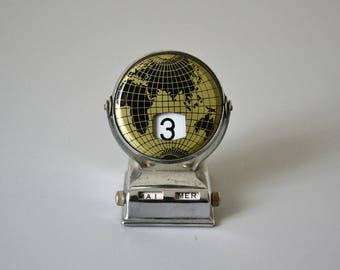 Vintage Perpetual Calendar / Reversable Desk Calendar with world map.