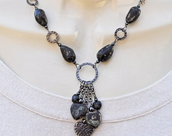Gunmetal and Black Heart Charm Necklace and Earring Set