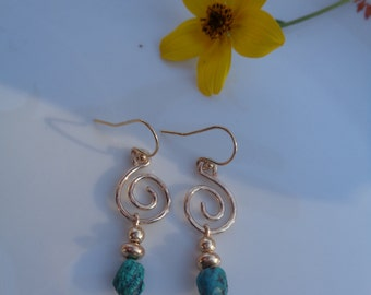 Gold Earrings with turquoise and spiral, 585 gold filled