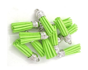 Mini Tassels - 10 Small Tassel Charms in Lime Green, Silver Caps - Great Jewelry Tassels - Key Chain Tassel - Wine Charms and More - TC-S140