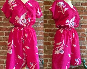 Vintage Bright Pink Hawaiian Tropical Floral Print Romper