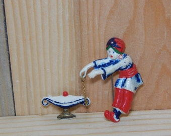 Vintage Genie Brooch Antique Painted Celluloid Aladdin & Lamp 2 Piece Brooch Red Blue Green White Figural Pin Brooch