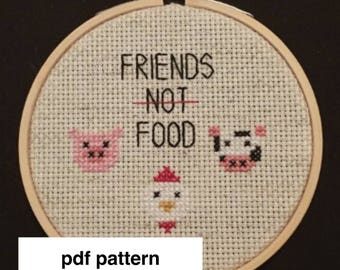 Friends Not Food Instant Download PDF Cross Stitch Pattern