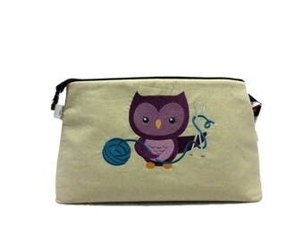 Knitting Project Bag, Crafty Owl Knitting - Large, Crochet Bag, Cross Stitch, Zippered Bag, Knitting Organizer, Embroidery, Bird