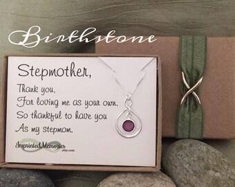 StepMOTHER necklace - Gift for Stepmom - Sterling Silver Swarovski Birthstone - Birthday Day gift for Stepmom - Stepmother of the Bride gift