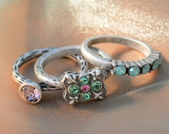 Set of 3 Silver Stack Rings, Inspirational Stacking Rings Set, Swarovski Crystal Rings, Stackable Rings, Boho Rings, Pastel, Gypsy R100