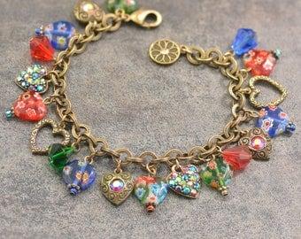 Rainbow Heart Charm Bracelet, Millefiori Jewelry, Love Heart Bracelet, Murano Glass, Boho Bracelet, Gift for Her, Boho Festival BR583
