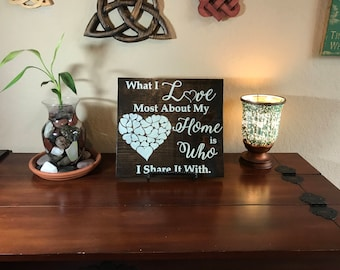 What I Love Most About My Home is Who I Share it WIth. Wood Home Decor Sign, Free USA Shipping