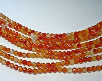 Round Faceted Red Carnelian Beads, Natural Red Carnelian, Full Strand, 6 mm