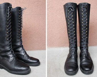 Vintage Tall Lace Up Army Boots La Botta - Black Leather Combat Boots - Size 36.5
