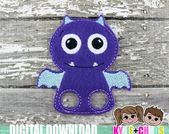 Flying Monster Finger Puppet ITH Embroidery Design