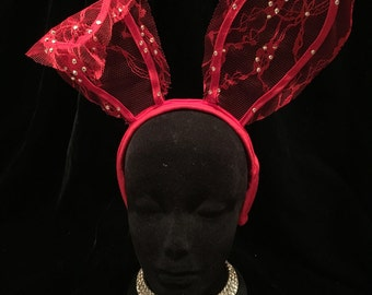 Red Lace Bunny Ears with Crystals. Burlesque Cabaret Vintage Costume Accessory