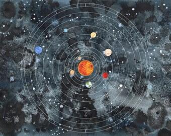Galaxy Solar System Print A4/A3