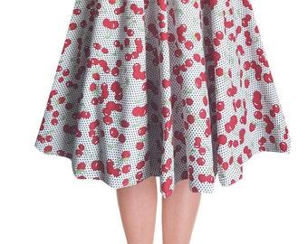 Full Circle Skirt Cherry Skirt Cherries Print Swing Skirt Pin Up Skirt Rockabilly Clothing 50s Skirt Retro Skirt Party Skirt Pin Up Clothing
