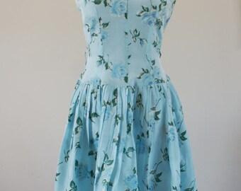 Robin's Egg Blue Rose Floral Vintage Crepe Satin 1950's Tea Dress Size XS/S BT-606