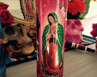 Prayer Candle Virgin Mary Lady of Guadalupe Sacred Heart