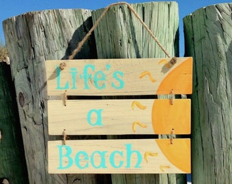 Life's A Beach, Beach Quote Sign, Shabby Beach House Sign, Beach Life Sign, Outdoor Patio Sign, Ready to Ship, Word Art Sign, Beach Decor