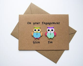 Personalised Engagement card, Wedding card, Anniversary card, Owl Card, Engagement Wedding Anniversary gift present keepsake