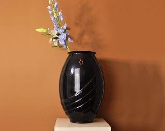Black Glass Vase, 80s Black Vase, Vintage 80s Modern Vase, Tall Oval Vase, Tall Oblong Vase, Large Vase, Modern Glass Vase, Ribbed Vase