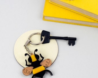 Bee Key Ring, Insect Key Chain, Bumble Bee Key Holder, Laser Cut Acrylic & Wood, Gift for Gardener, Gift for Her, Scandinavian Design