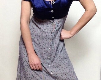 Vintage 90's 'Jody California' Dress | Navy Blue | Faux Silk Top | Button Up | Long | Rose Bud | Gingham