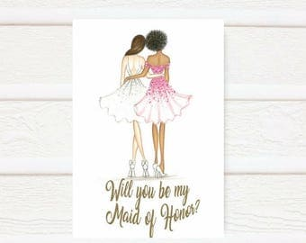 Maid of Honor PDF Download brunette bride, African American maid of honor card, printable PDF