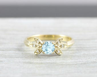 Aquamarine and diamond engagement solitaire nature inspired leaf ring in gold handmade