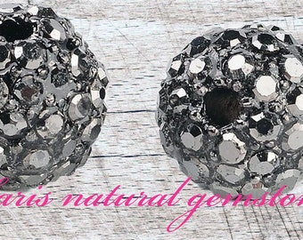 5 Metal Alloy Pave Rhinestone Beads,Round, dark Gray Size: about 10mm in diameter,hole.2mm