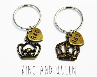COUPLES KEYCHAIN SET. King and Queen. Personalized. Couples Gift. Initial Keychain. Mr and Mrs. Valentines. Anniversary. Wedding. Packaged!