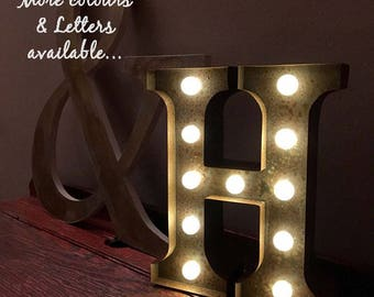 Vintage Carnival Style Marquee Light, Light up Letter H - Battery Operated/Various Colours - Perfect Night Light/Gift/Wedding Decor