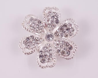 Large Silver 6 Petal Rhinestone 3 Strand Flowers