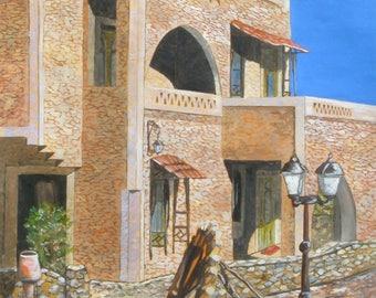 original painting landscape oil painting measuring 40 x 50 cm wheel. No frame