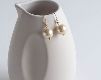 Glass Pearl Bead Dangle Earrings Simple Modern Minimalist Jewelry Wedding Bridal
