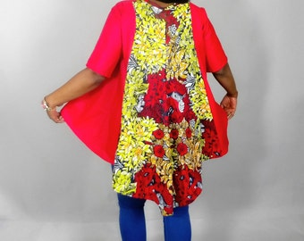 NEW IN :African clothing ,African top,red top,dashiki fabric,waxprint,women clothing,vlisco ,hi-lo top