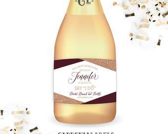 Bridal Shower Mini Champagne Labels, Bridal Shower Favor, Gifts for the Bride, Bachelorette Party Decor, Miniature Bachelorette Wine Labels