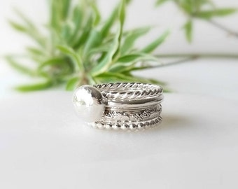Sterling Silver Rings - Pebble Stack - Set of 4 - Stackable Rings - Statement Rings - Handmade