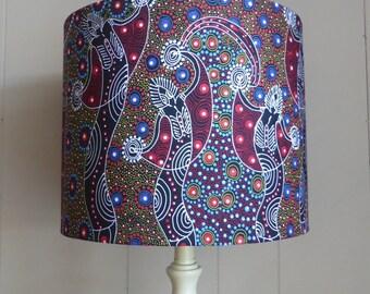 Dancing Spirit | Aboriginal Fabric Lampshade | Red | Australian Fabric | Handmade in Australia