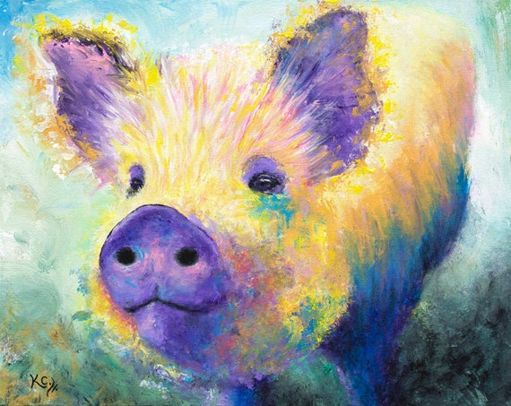 Pig Painting - Pig Decor, Farm Animal Art, Pigs, Abstract Pig Art, Kunekune Pig Wall Art. Farm Art. 16 x 20 inches. Acrylic on Canvas.
