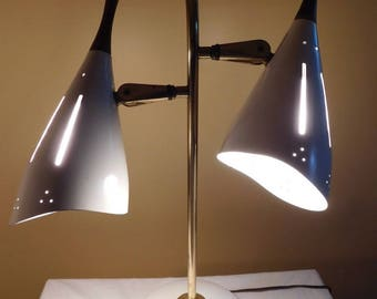 Vintage Dual Head Table Lamp Retro Desk Lamp White Lamo 1960s Lighting