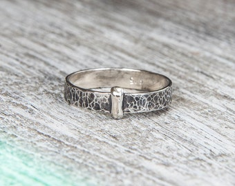 Outlander Ring, Claire's Ring, Key Ring, Scottish Ring, Handmade, Sterling Silver, Hammered Silver, Patina