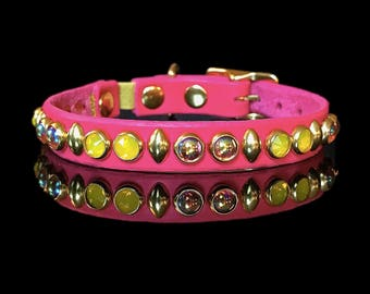The KITTY FLUFF handmade leather safety cat collar w/ yellow opal Swarovski crystals, rosaline ab glass cabs & studs, Picasso Collars