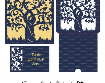 Set Wedding Tree envelope, RSWP card love story Bride & Groom Invitation (svg, dxf) laser cut Stencils diecut paper Digital Cricut Cameo