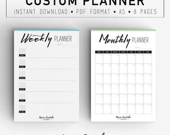 Custom Planner, Printable A5 Custom Planner, Planner and Organizers, PDF Instant download